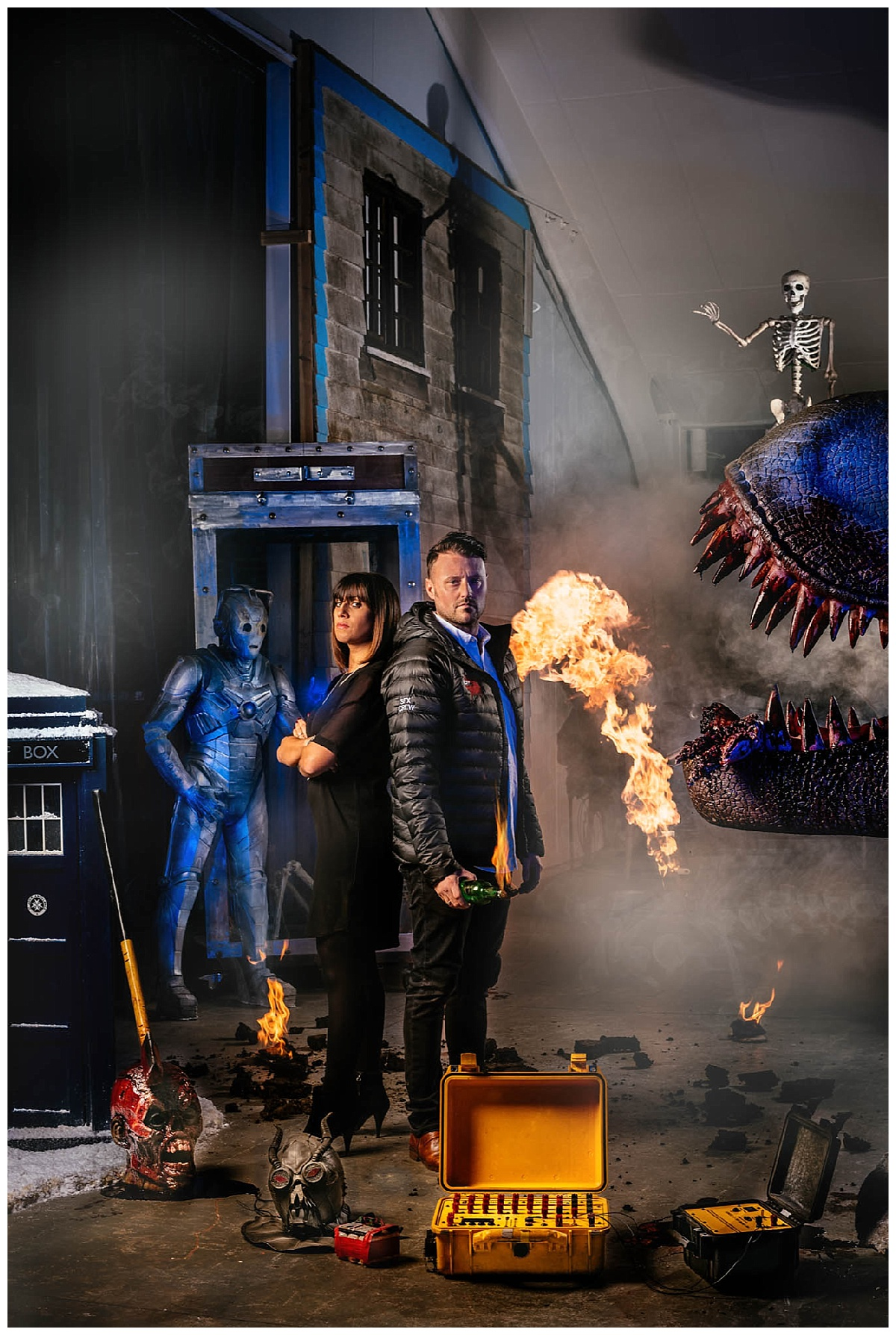 A photo of two special effects experts surrounded by special effects