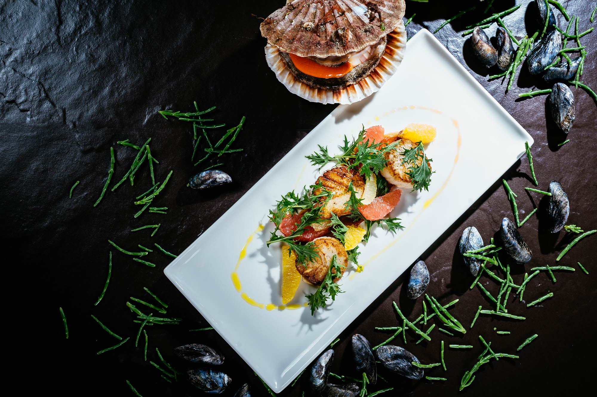 A photo of a seafood dish on a white plate upon a black surface