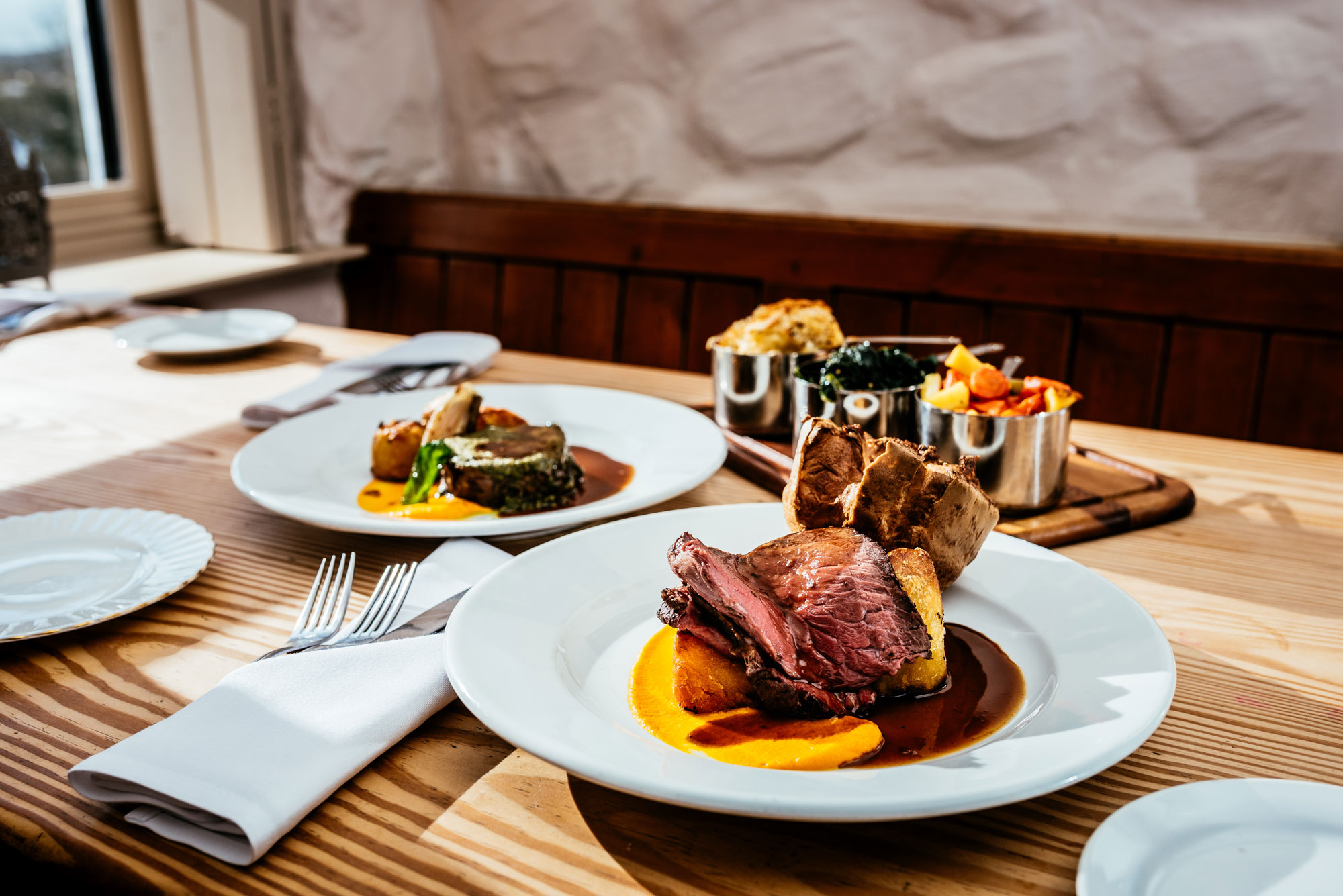 Food photography of a sunday roast in cardiff
