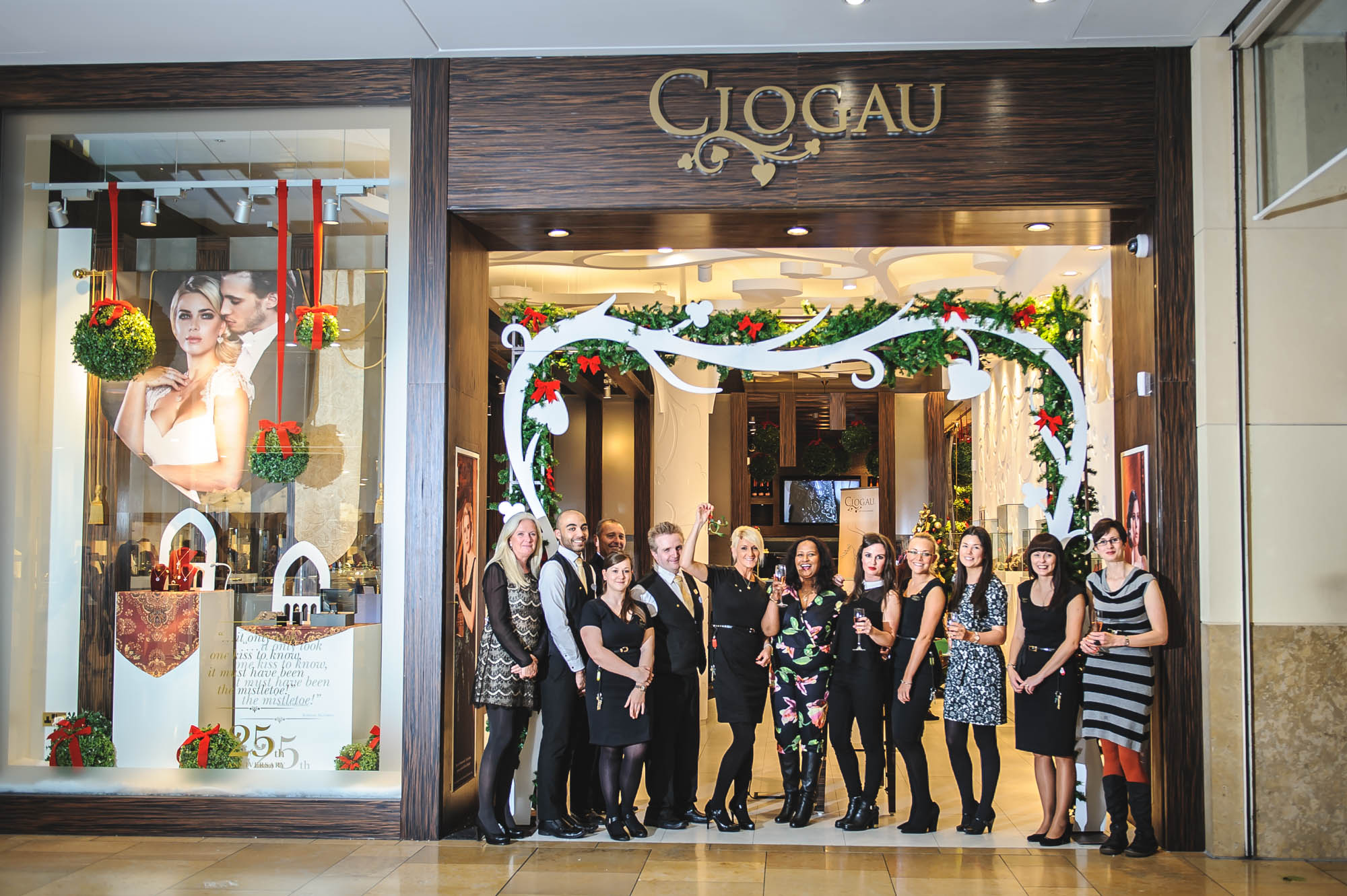 A photo of the staff of Clogau Gold outside their new Cardiff Store