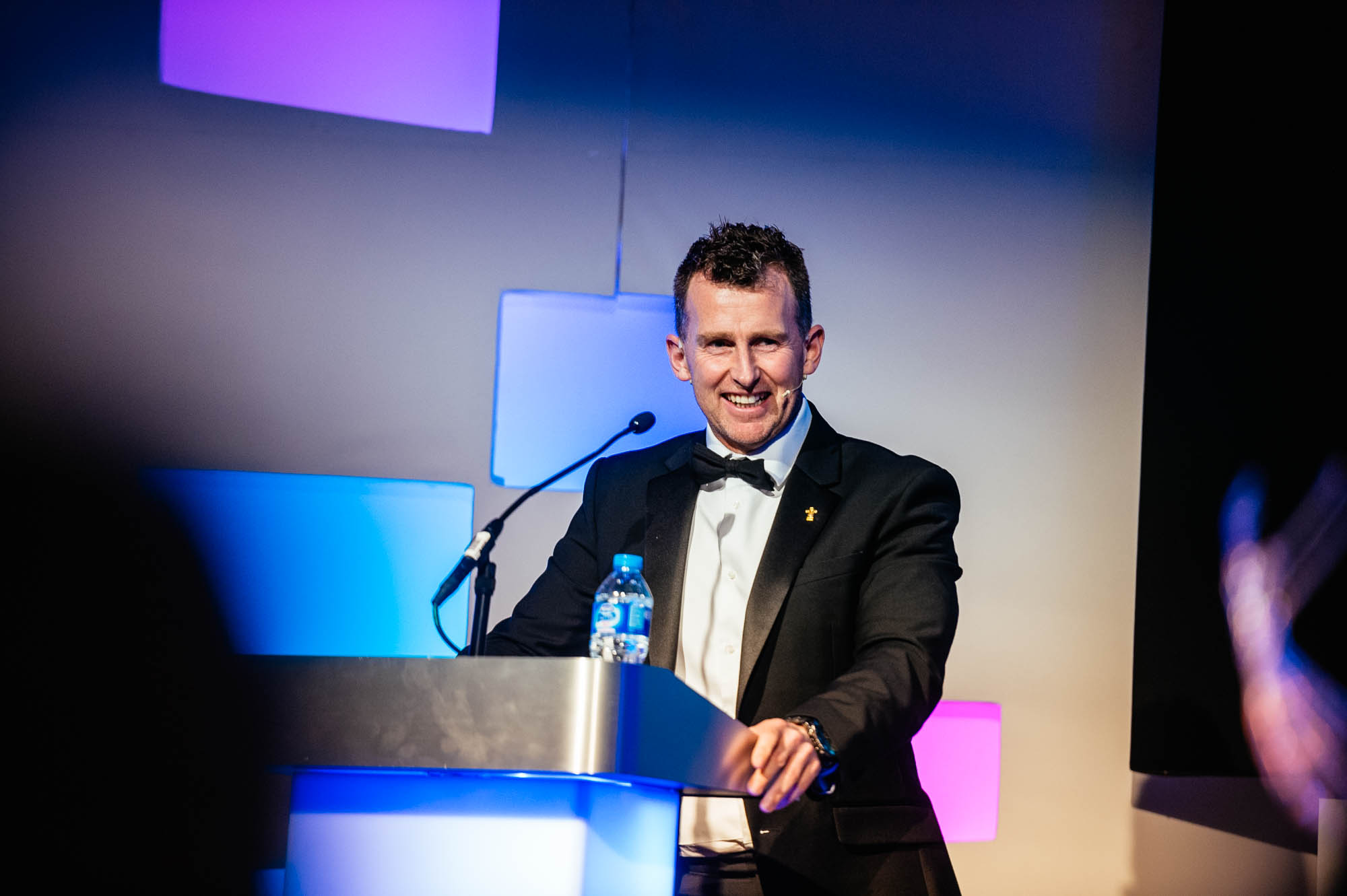 A photo of international rugby referee Nigel Owens at the Cardiff Life Awards in march 2017