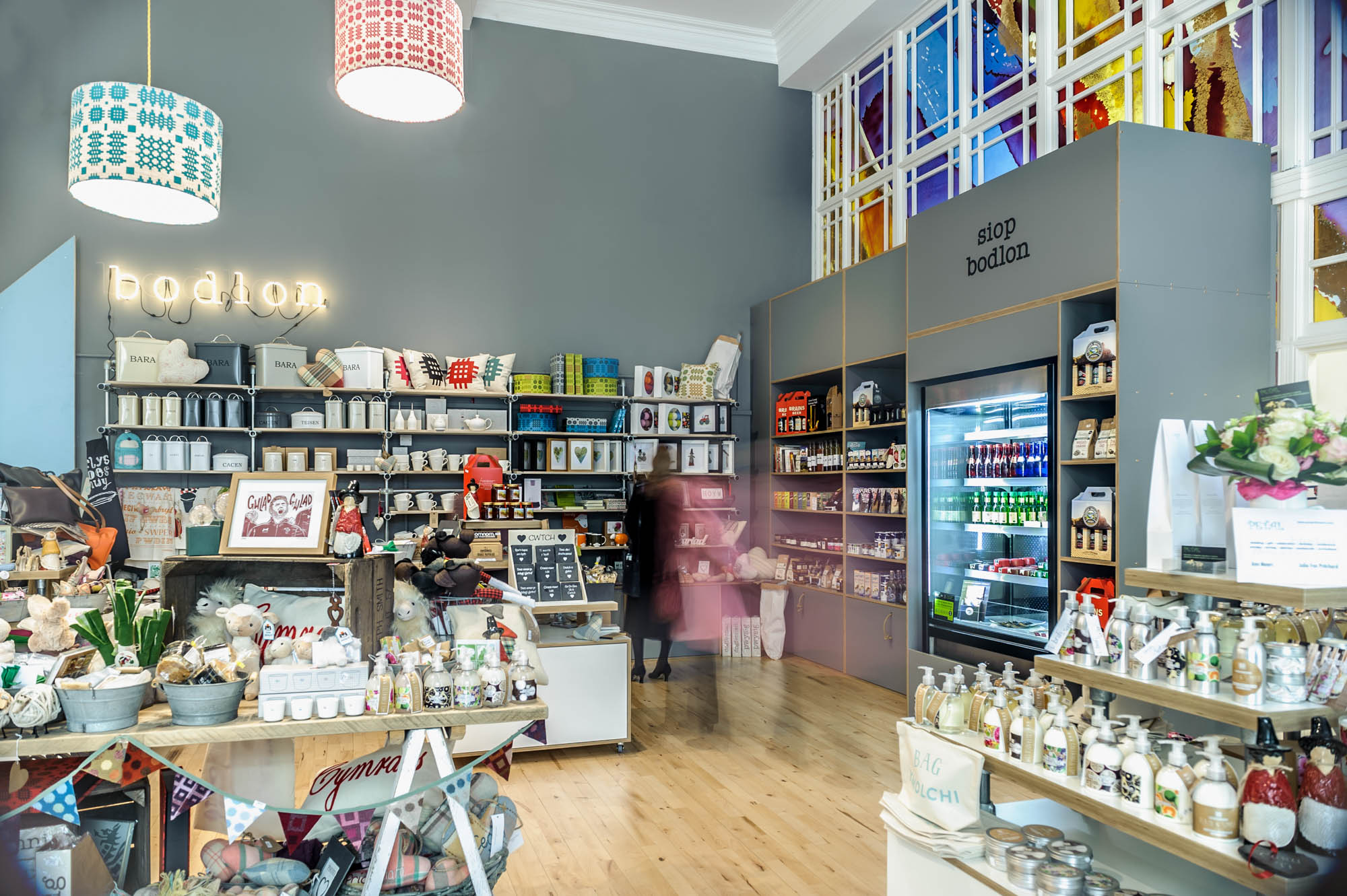 A photo of the gift shop within a high ceiling room in cardiff
